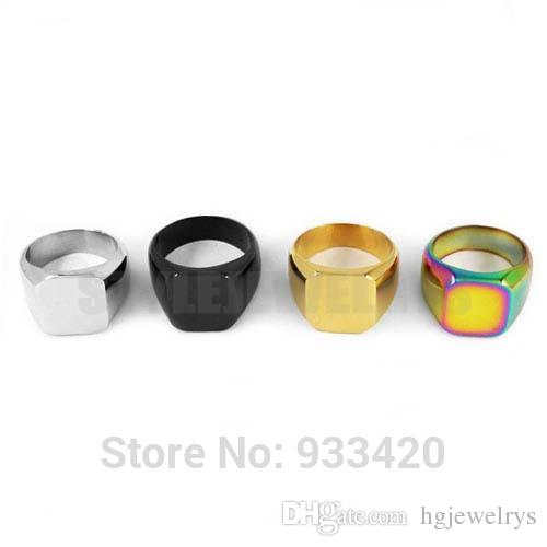 ! High Polished Colorful Signet Solid Masonic Ring Stainless Steel Jewelry Smooth Surface Motor Biker Men Ring R79B