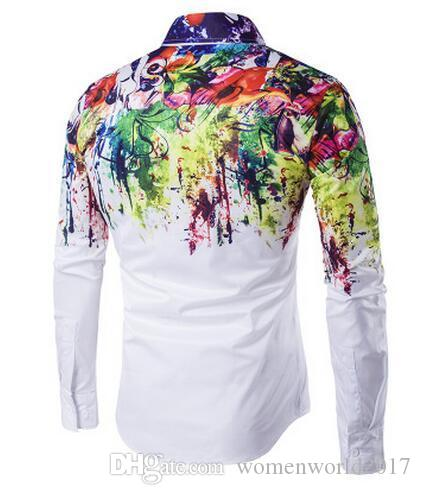 2017 new Men Fashion Shirt Pattern Design Long Sleeve Flower painting style printing Slim Fit Casual Men Dress Shirts M-3XL