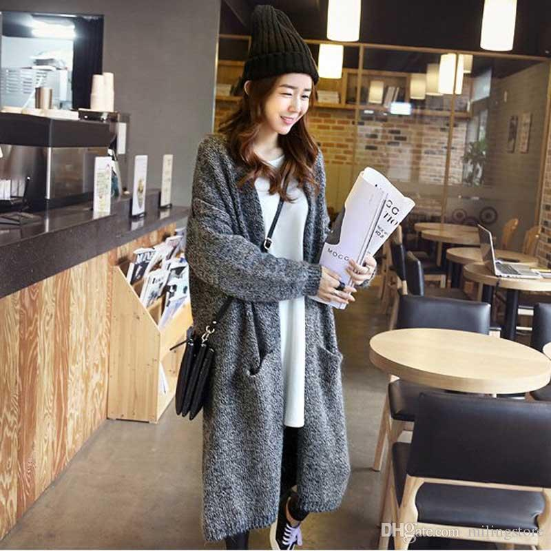 02e982d3d34 Europe Street Style Cardigans Knitted Sweaters Women Fashion Loose Oversized  Cardigan Jacket Long Sweater Coats For Women Online with  28.88 Piece on ...