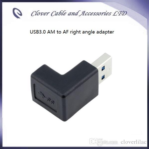 Spedizione gratuita e buona qualità Adattatore connettori ad angolo retto USB3.0 da AM a AF blu e nero