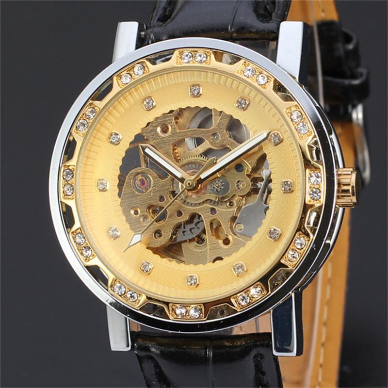 Fashion Winner Black Leather Band Stainless Steel Skeleton Mechanical Watch For Man/women Gold Mechanical Wrist Watch