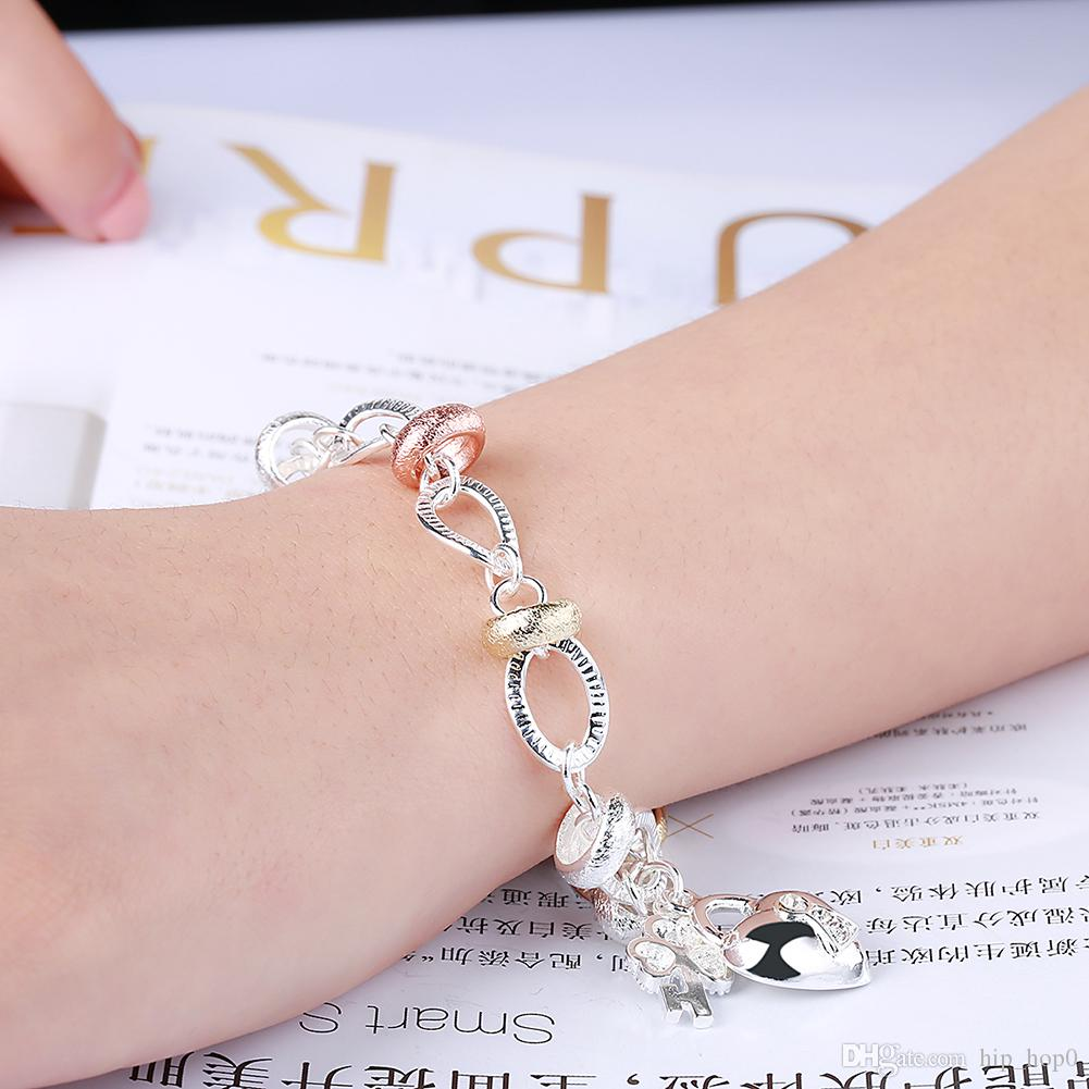 Inlaid Heart Lock Charms Crystal Bracelet Fashion Jewelry 925 Sterling Silver Chain Bracelets Beauty Romantic Gifts Girls Love