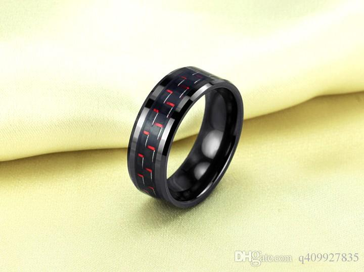 Fashion Day Jewelry New arrival Mens 8mm Tungsten Ring Beveled Edge Black & Red Carbon Fiber Inlay Rings Engagement Wedding Band
