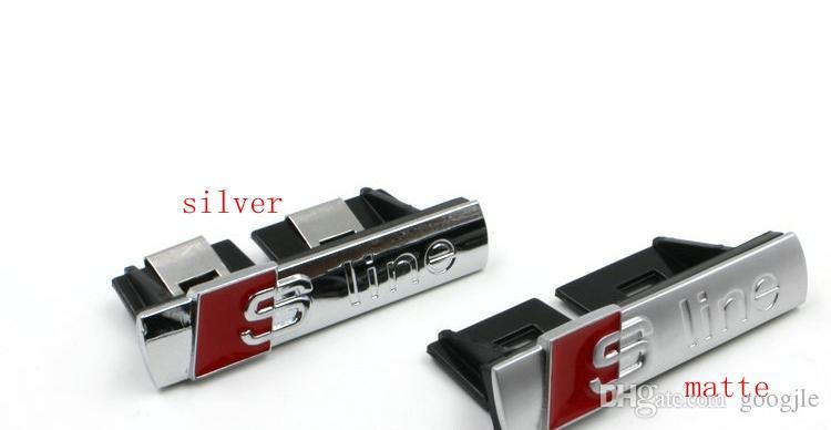 Yüksek Kalite Metal Sline s hattı ızgara amblemi ile klip gümüş / mat / siyah araba rozetleri Sticker Için S3 S4 S5 S6 S8 A1 A3 A4 A5 A6 A7 TT RS