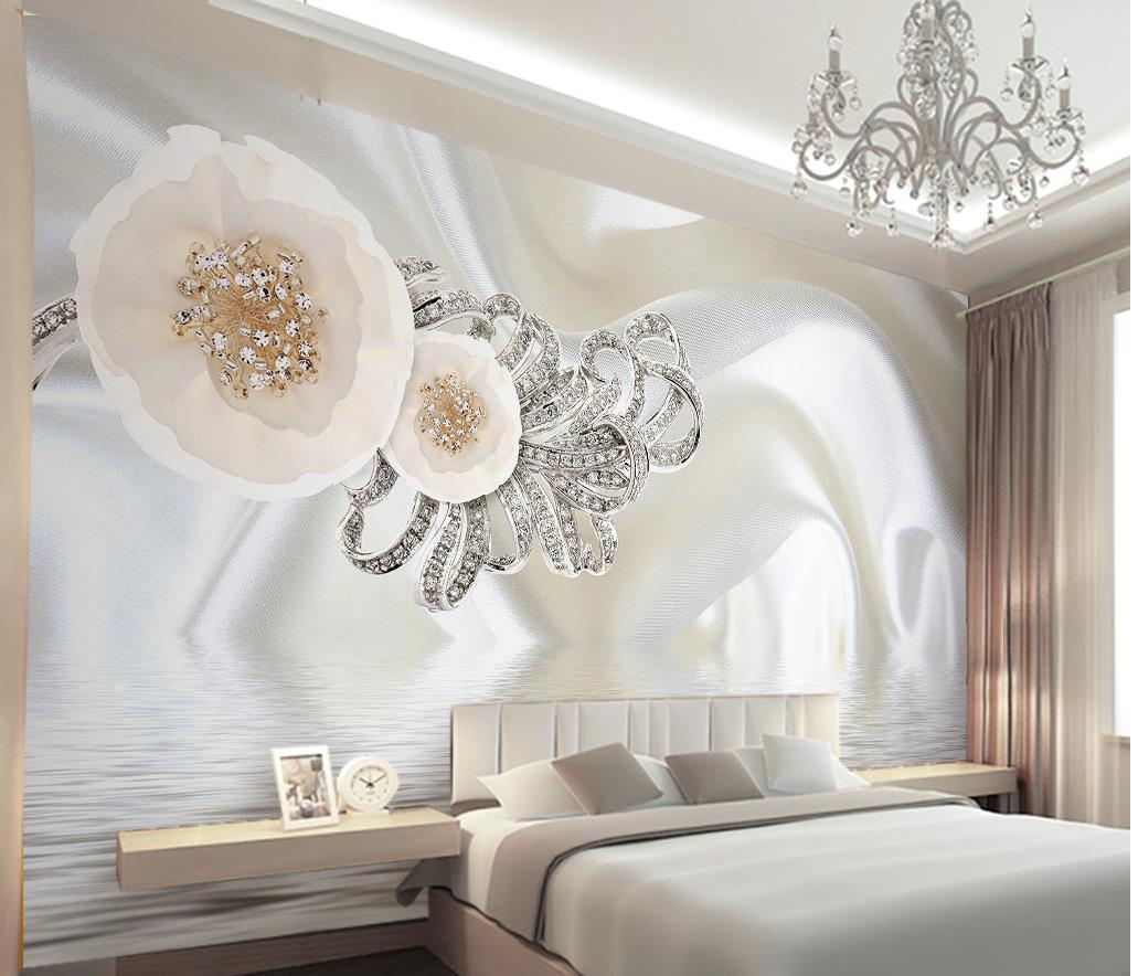 Home Design 3d Gold Ideas: Customize 3d Mural Wallpaper European Style 3d Silk White