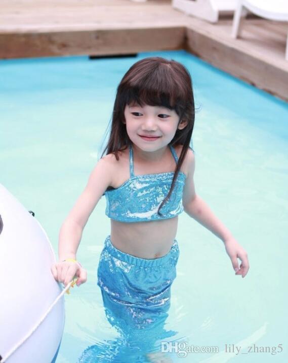 Vendita calda Ragazze Bambini Mermaid Costume da bagno 3 PZ / Set Mermaid Costumi da bagno Bikini Bikini Ragazze Beach Swimwear Mermaid Costumi da nuoto DHL nave