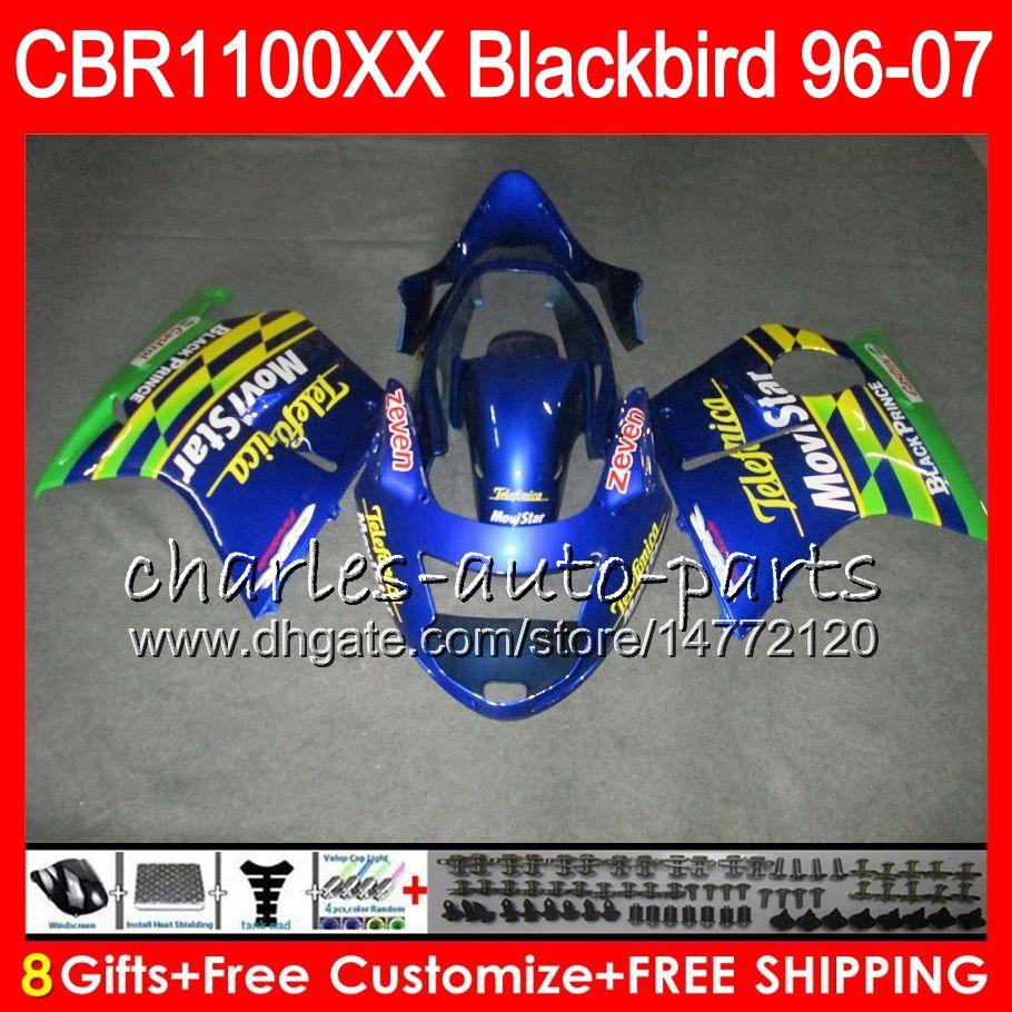 Body For HONDA Blackbird Movistar Blue CBR1100 XX CBR1100XX 96 97 98 99 00 01 1NO21 CBR 1100 1100XX 1996 1997 1998 1999 2000 2001 Fairing Cheap