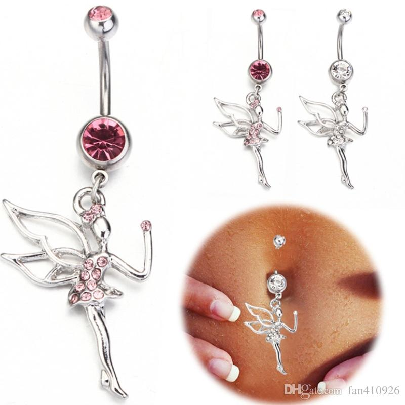 316L Surgical Steel 14G Angel Dangle Body Piercing With Rhinestone Navel Belly Ring Barbell Button Piercing Omblig