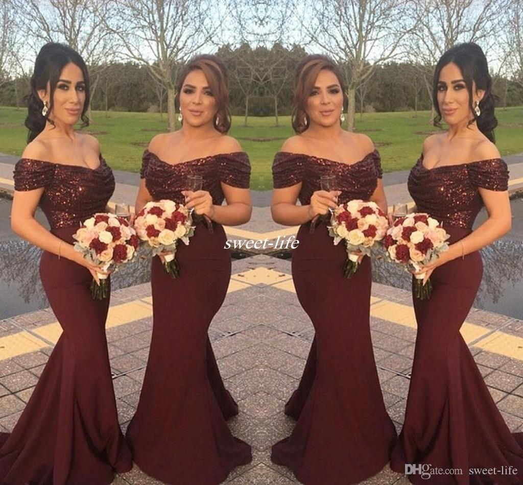 Burgundy Sparkly Sequins Off Shoulder Long Bridesmaid Dresses With Short  Sleeve Mermaid 2016 Arabic Formal Wedding Guest Gowns Evening Dress Dresses  For ... e3fad552f
