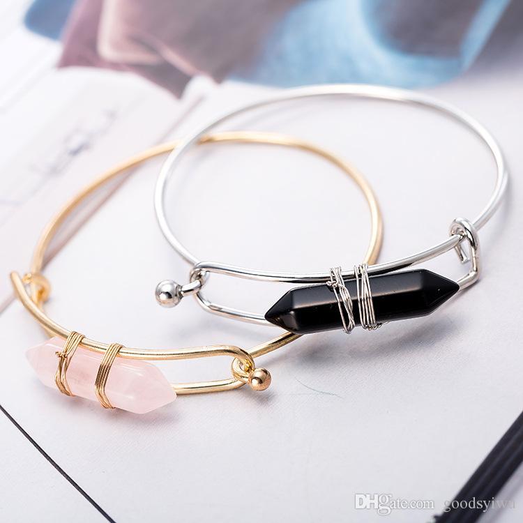 New Bullet Shape Natural Stone Charms Bracelets Hexagonal Prism Quartz turquoise Crystal gems Bangle Jewelry for women men