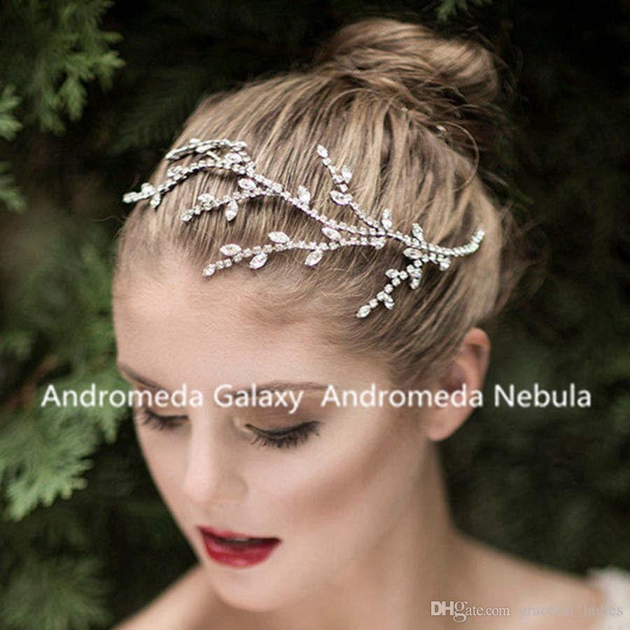 silver crystal leaves wedding comb headpiece comb wedding bridal