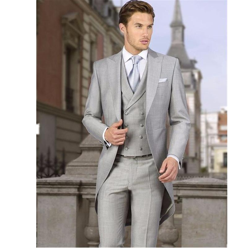 2017 Wholesale Men Coat Pant Three Piece Suits Light Gray Custom ...
