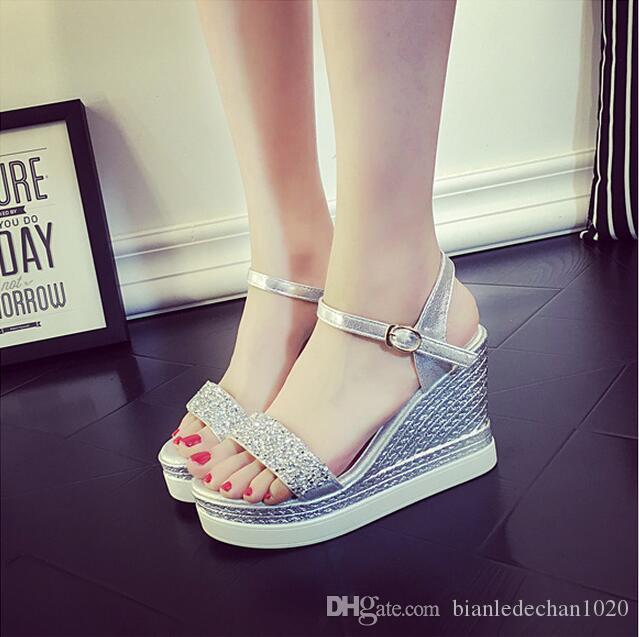 2016 summer new diamond thick crust muffin sandals female slope with open-toed high-heeled shoes waterproof Taiwan word cingulate