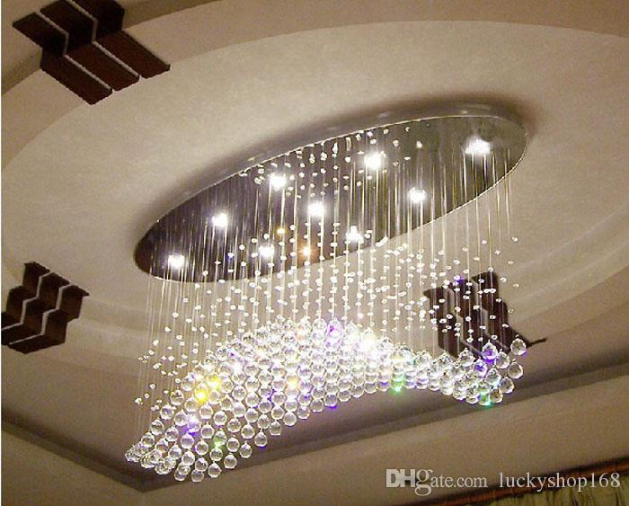 Acquista Prezzo Di Fabbrica !!! Onda Ovale Tenda Lampadari Moderni Lampada  Di Cristallo Soggiorno Lampada Hotel Illuminazione Dimensioni: L750 * W300  ...