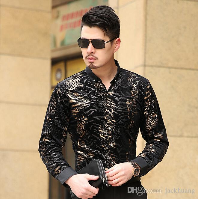 1d65cc6e56f0 2019 2016 Chemise Homme Camisa Social Masculina Seda Slim Fit Velvet Black  Gold Shirts Mens Leopard Print Dress Shirt Silk Luxury New From Jackhuang,  ...