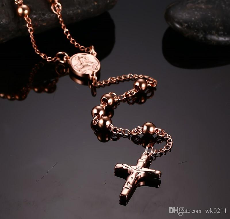 Men's charm Jesus Necklace & pendants long rosary beads chain stainless steel men's jewelry