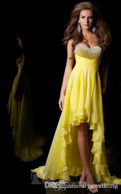 High Low Homecoming Dresses Sweetheart elegante rebordear lentejuelas de plata y amarillo barato gasa vestido de fiesta de baile para damas venta caliente