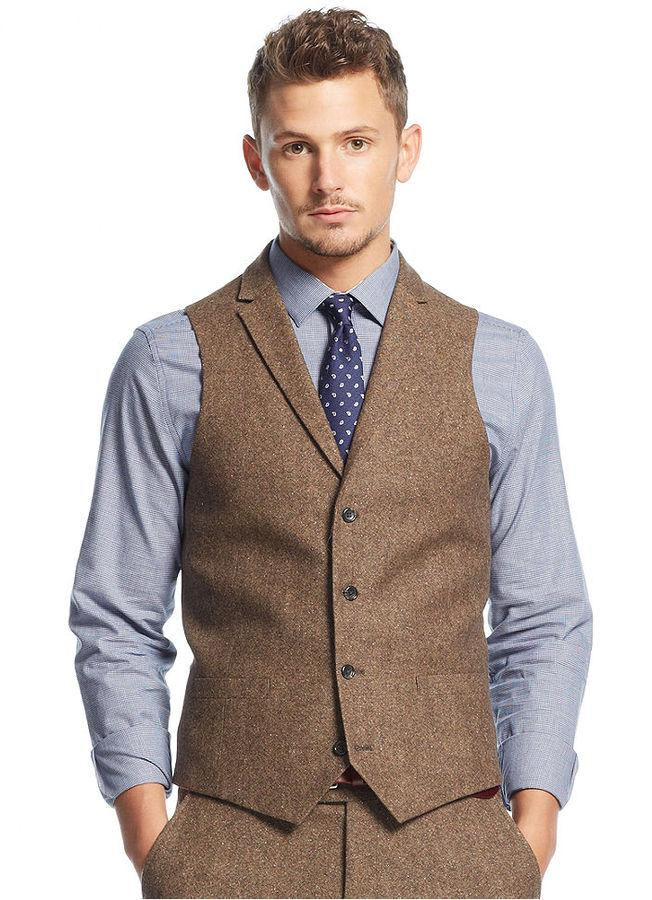 2017 2017 Vintage Mens Tweed Vest Brown Wool Notch Lapel Mens Suit ...
