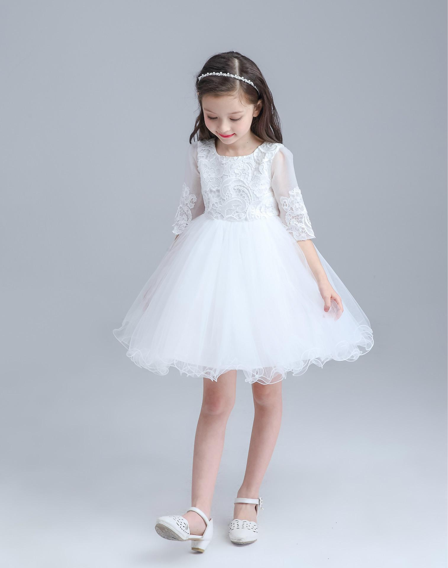 2017 Full Sleeve Lace Baby Clothes Baby Flower Girl Dresses For 0