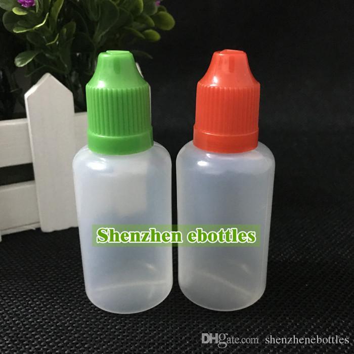Botellas de plástico al por mayor 30ml vacío gotero E líquido de la botella a prueba de niños Cap largo de punta de aguja cuentagotas Botella envío libre