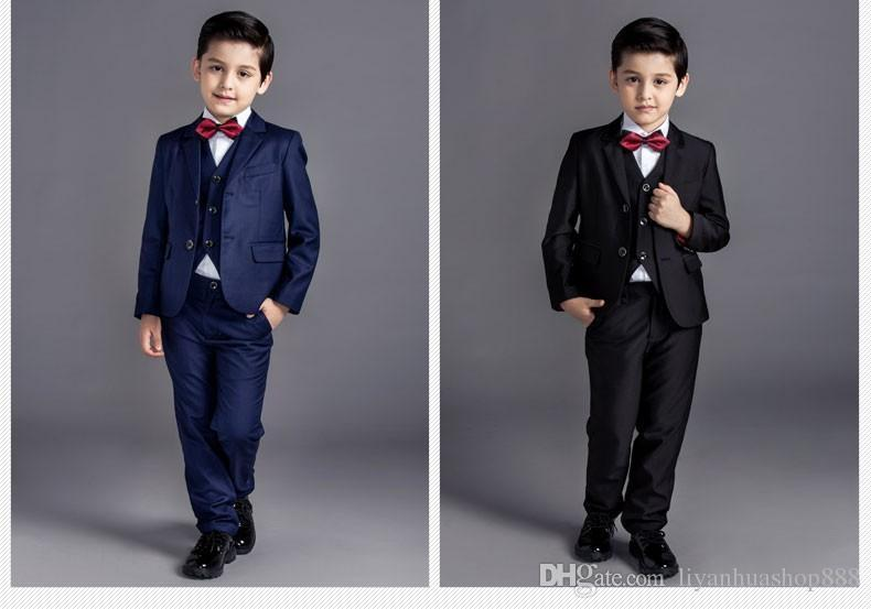 Nova moda bebê crianças meninos crianças blazers ternos meninos ternos para casamentos formal preto azul terno do casamento flor menino vestido