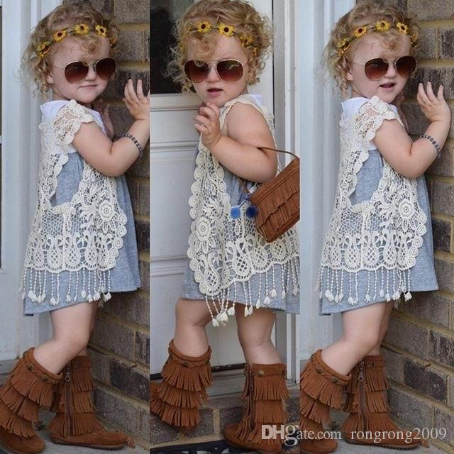Retail Girl Vest Retro Lace Hollow Tassels Cardigan Fashion Sweater Coats Children Clothing 9901