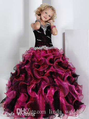 Vestito da spettacolo della ragazza nera e rosa Vestito da ballo della principessa Abito da ballo di cupcake la ragazza giovane corto Abito carino la bambina