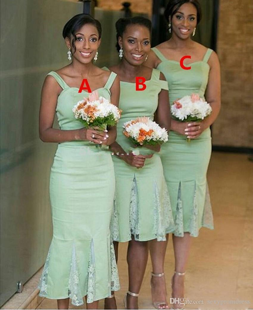 African sage green spaghetti bridesmaid dresses three style sheath 7 ombrellifo Images