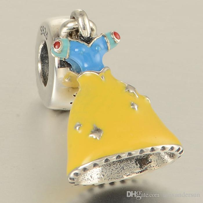 New 100% 925 Sterling Silver Snow White DRESS Head Charm bead S925 Stamped Fits pandora Snake Chain Bracelet Fashion DIY Jewelry