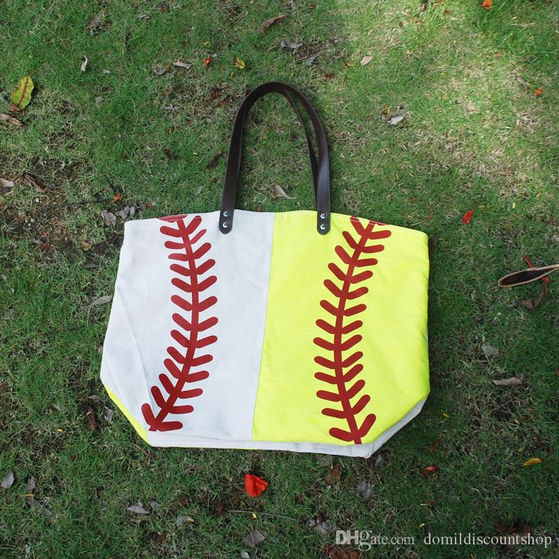 Wholesale Blanks Baseball Softball Joint Patchwork Tote Bags Sports Bag with Faux Leather Handles DOM103281