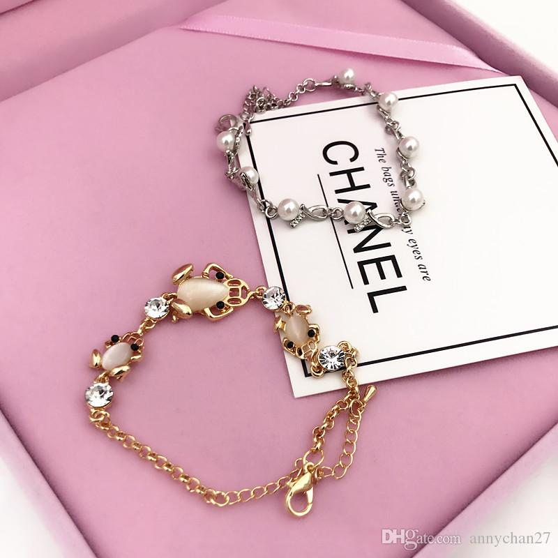 Nueva pulsera del encanto de la calidad del ojo de gato de la piedra de la gema de la perla de la joyería Swarovski Rhinestone cristalino de la manera coreana de la pulsera que conserva el color libre DHL