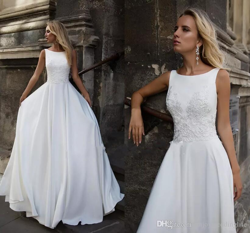 Discount 2018 Simple Elegant White A Line Cheap Wedding