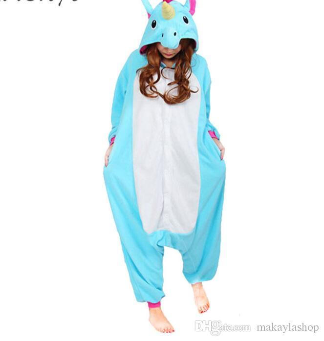 ec35b1bd30ec8c Unicornio pijamas mujeres traje de cosplay Animal Onesie niñas azul rosa  púrpura Homewear franela cálido traje suelto suave niño adulto