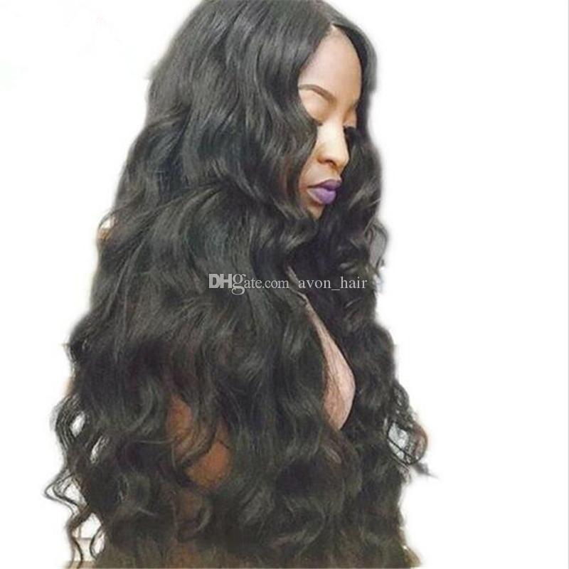 Middle Part 8A Body Wave Wavy Human Hair wigs Glueless Full Lace Wigs With Baby Hair 130% Density 10-30 Inch For Black Woman