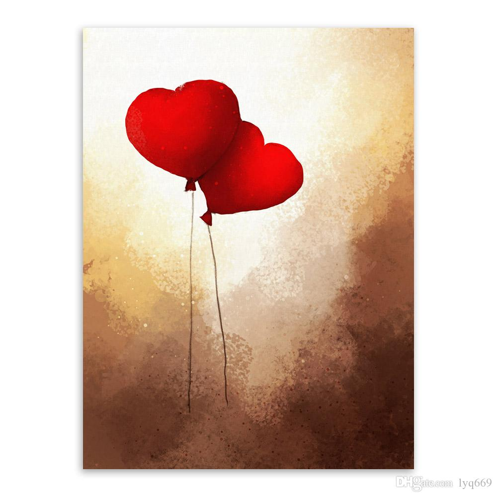 Vintage Romantic Valentine Love Heart Balloon Poster Modern Girl Room Wall A4 Art Print Picture Canvas Painting Home Deco No Frame