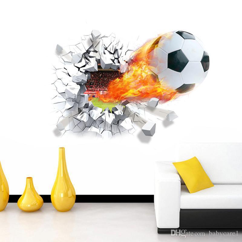 Стрельба футбол через стены наклейки детская комната украшения . главная наклейки футбол funs 3D настенная роспись искусство спортивная игра ПВХ плакат 5.0