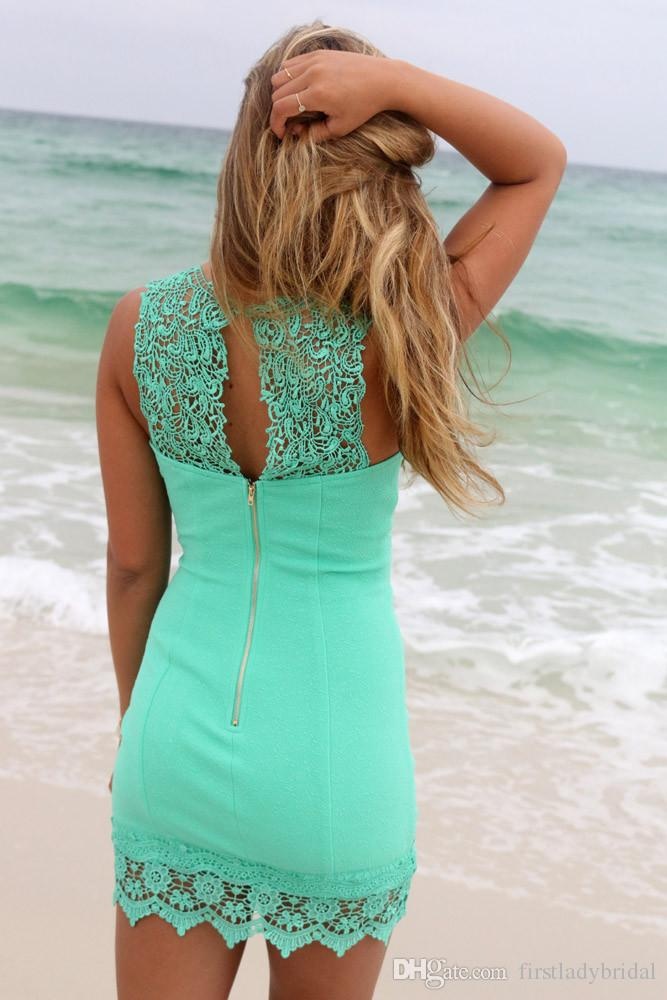 Mint Green Mini Cocktail Dresses 2016 Corset Lace Sexy Short Prom Gowns Sheer Crew Neck Dress For Special Occasions