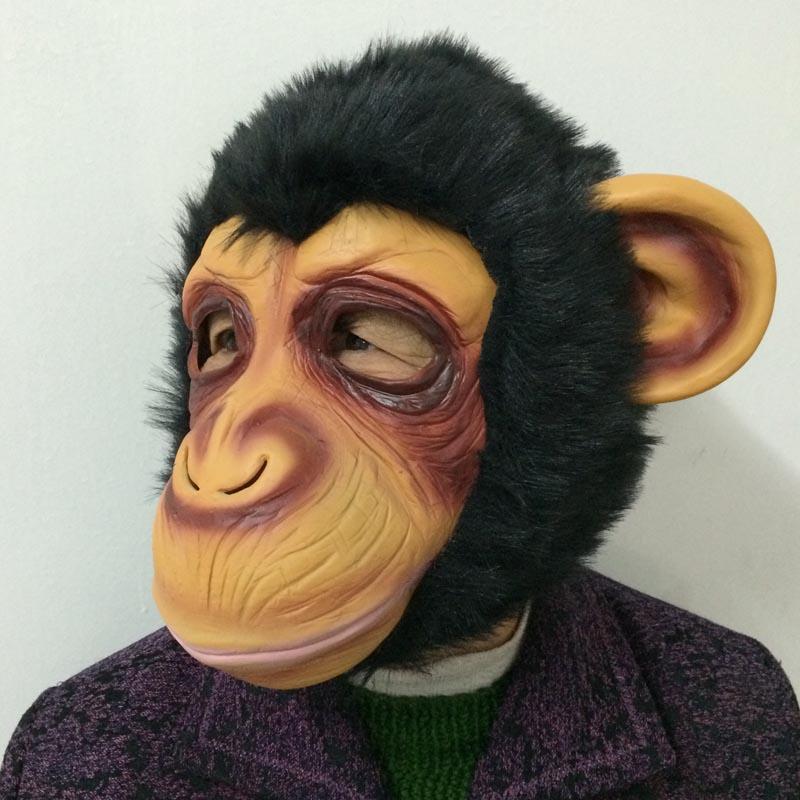 On Sale Cosplay Monkey mask Cute Gorilla Mask Creepy Latex Mask short hair animal head Scary Halloween Party Mask
