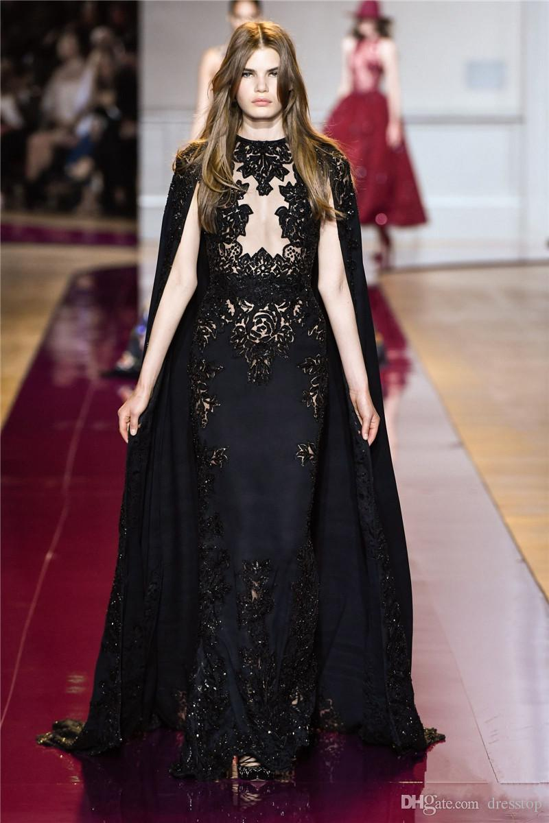 2016 Zuhair Murad Black Evening Dresses With Cape Sheer Plunging ...