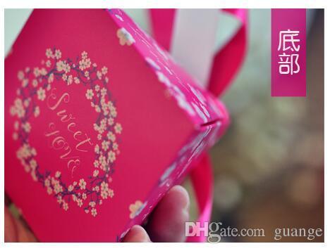 100 Unids estilo europeo púrpura rosa flor de color rojo perla papel triángulo pirámide Caja de la boda caja de Dulces cajas de regalo cajas de favor de la boda 000189