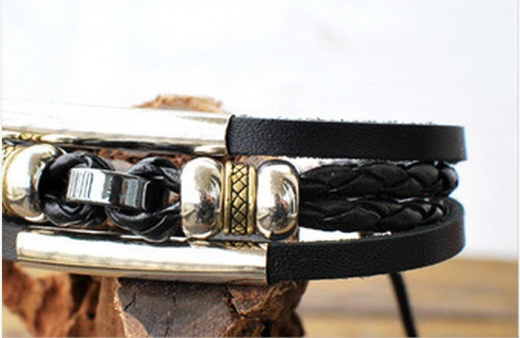 Leather Bracelet Mens womens Wrap Multilayer Bracelet & Bangles Jewelry vintage bead Bracelet Black