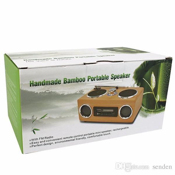 Multifunctional Handmade Bamboo Portable Speaker Mini Hi-Fi Bamboo Wood Boombox TF/USB Card Speaker FM Radio with Remote Control MP3 player