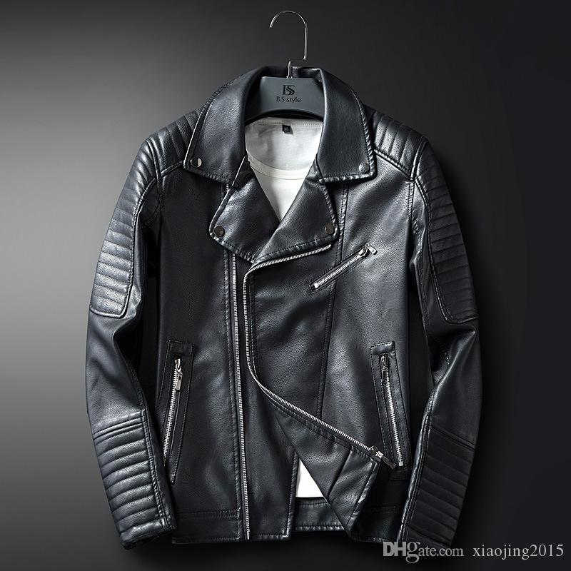 New Arrival Mens Faux Black Leather Jackets For Men Slim Fit Casual