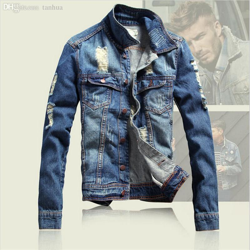 Fall Ripped Denim Jacket 2016 Men'S Winter Jean Jacket Men Vintage ...