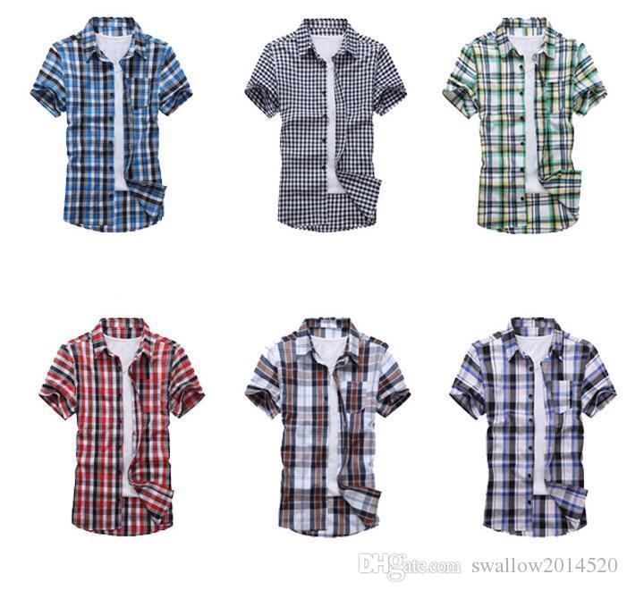 2019 New Men S Short Sleeved Flannel Casual Plaid Shirt Men
