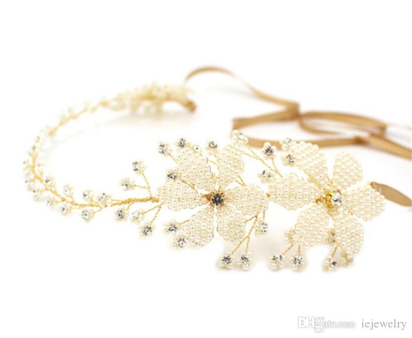 Handmade della fascia perla da sposa Crystal Crown Tiara strass Accessori capelli del nastro dei monili del cinturino in oro principessa copricapo copricapo