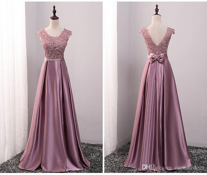 2019 Otoño Imagen real Escote redondo Vestidos largos de dama de honor Elegante vestido sin espalda con encaje Manga de la boda Vestido de invitado Vestido de dama de honor