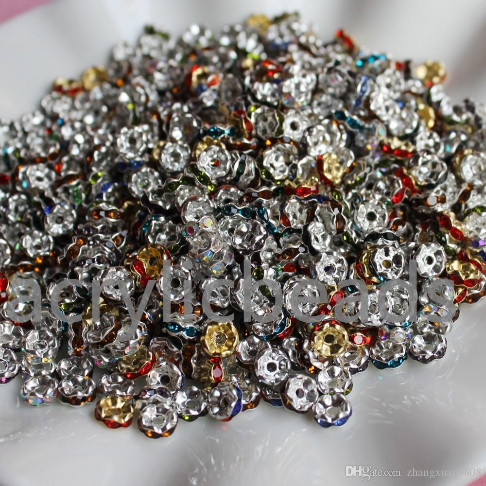 6mm Silver Plated Metal Acrylic Rhinestone Rondelle Crystal Spacer ... 4026acf2b3e6