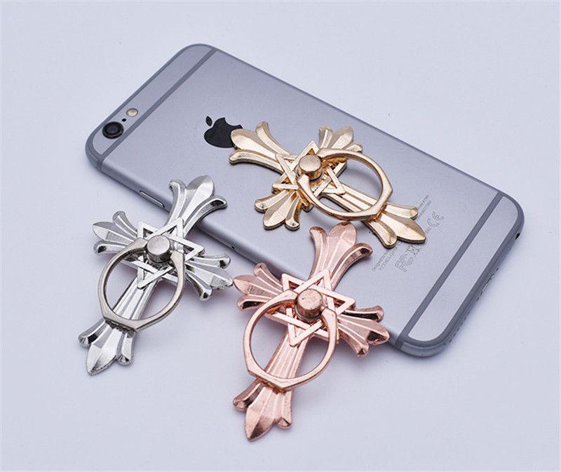 Monte Car Stand Holder Anel Cruz forma metal dedo anelar Celular Smartphone suporte Suporte para Samsung S8 nota 8 com saco de OPP