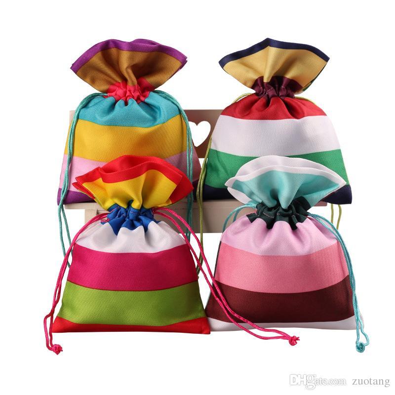 2016 New Stripe tessuto sacchetto sacchetto di imballaggio del regalo cordone mestiere vuoto lavanda bustina spezie bustine di tè di natale festa di compleanno sacchetti di favore